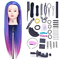 SIGHTLING 26inch 100% Synthetic Fiber Hair Training Head Cosmetology Hairdressing Mannequin Manikin Doll Head with Table Clamp Holder & DIY Hair Braid Set