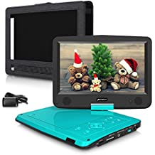 """Pumpkin 10"""" Pantalla Reproductor de DVD Portátil (3000mAh Batería Interna, USB, SD) con Cargador de Coche y Soporte para Resposacabezas, Verde"""