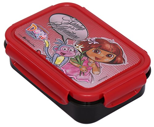Nickelodeon Dora Plastic Lunch Box Set, 3-Pieces, Multicolour (HMLILB 60305-DR)