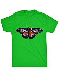 Renowned British Flag Inside Butterfly Wings Mens T Shirt