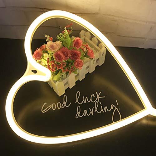 LED-Licht in Herzform, Herz-Form, dekoratives Licht, perfektes Geschenk für Valentinstag, Geburtstag, Kinderzimmer, Wohnzimmer, Hochzeit, Party, Wanddekoration (Warmweiß) - Dekorative Formen