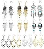 YADOCA 10 Paare Statement Anhänger Ohrringe für Damen Mädchen Fransen Quaste Retro Boho Ohrringe Lang Gold Silber Mode Schmuck
