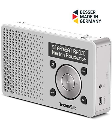 TechniSat Digitradio 1 tragbares DAB Radio mit Akku (DAB+, UKW, FM, Lautsprecher, Kopfhörer-Anschluss, Favoritenspeicher, OLED-Display, klein, 1 Watt RMS) weiß/silber Digital Radio Akku