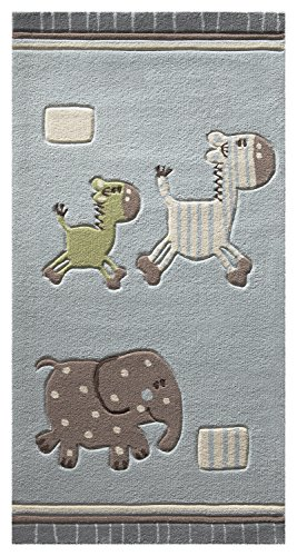ESPRIT Lucky Zoo Moderner Markenteppich, Polyacryl, Blau, 160 x 90 x 1 cm (Teppich-läufer 2 X 10)