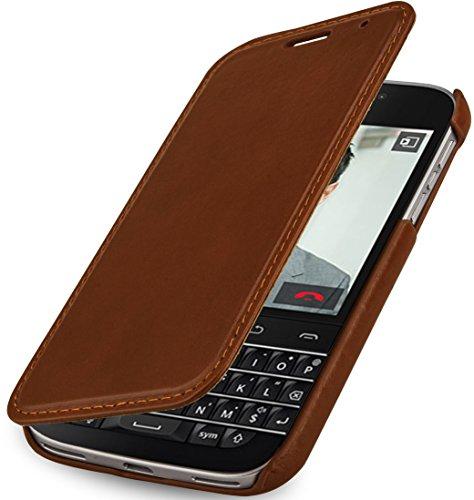 StilGut Book Type Case, Hülle aus Leder mit On-/Off-Funktion für BlackBerry Classic Q20, Cognac