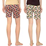 Zebu Women's Printed Shorts (Pack of 2)