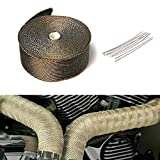 10m Titanium Car Motorcycle Exhaust Manifold Downpipe Heat Wrap Roll + 10pcs Stainless Cable Ties