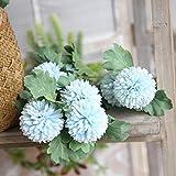 Mitlfuny Unechte Blumen,Künstliche Seide Fake Blumen Löwenzahn Floral Wedding Bouquet Hortensien Dekor Garten Party Blumenschmuck (blau)