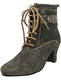 3be96798ace25d MarJo Trachten Damen Dirndl-Schuhe Stiefel Bärbel in Anthrazit Trachten -Schuhe