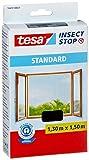 tesa Fliegengitter für Fenster, Standard Qualität, schwarz (anthrazit), durchsichtig. (1,3m