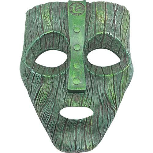 QWEASZER Halloween Cosplay Party Harz Maske Maskerade Die Maske Loki Loptr Hveðrungr Maske Terror Erwachsene Anime Dekoration,Green-OneSize