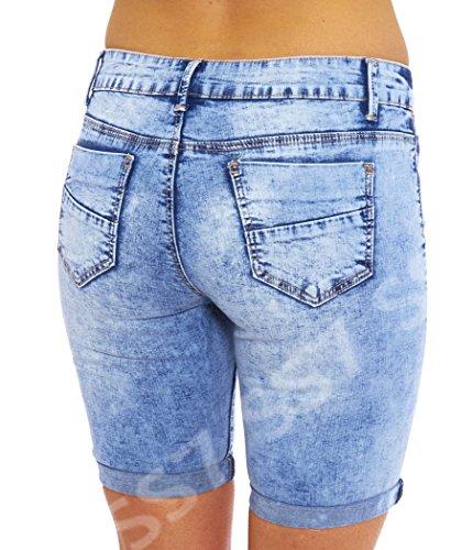 SS7 Damen Denim Knie Shorts, Größen eu 36-44 Denim Blau