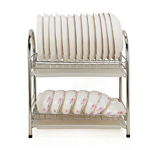 Porte-vaisselle Étagère en cuvette en acier inoxydable étagère de cuisine 2Tier Drain Rack Dishes Incorporated Leakage Shelf Put Bowls Supplies 40 * 22.5 * 42CM ( Couleur : A , taille : 40*22.5*42CM )
