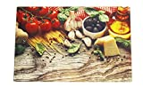 Tagliere in vetro temprato vassoio di cucina di tavolo a dessert o formaggio resistente al calore multifunzione–20x 30cm, Méditerranée, 200 x 300 x 4 mm