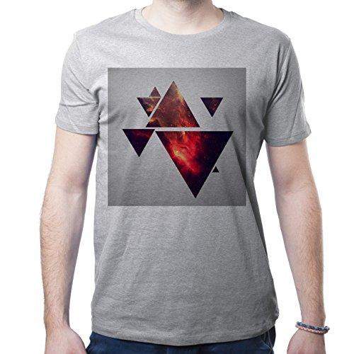 Illuminati Triangle Art Majestic Square Many Fire Triangles Herren T-Shirt Grau
