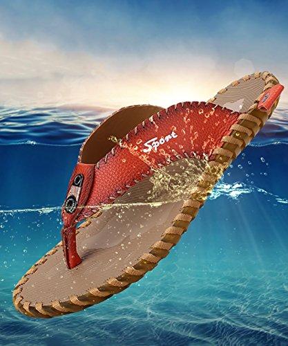 CHAOXIANG Pantofole Uomo Antiscivolo Con tacco Ciabatte Piatte Sandali Da Surf Nuova Estate Ciabatte Spiaggia ( Colore : Bianca , dimensioni : EU40/UK6.5/CN40 ) Marrone