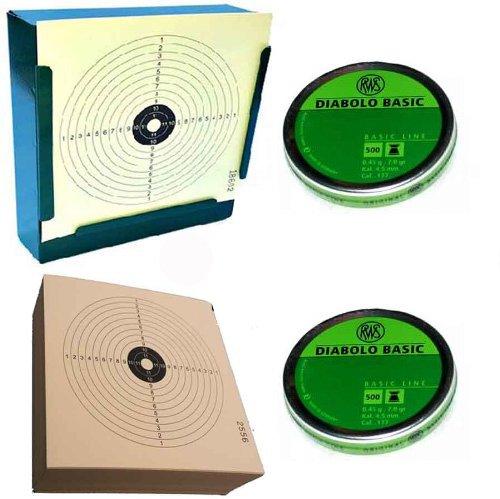 Kugelfang Set, Kugelfang, 100 St. Zielscheiben und 1.000 Stück RWS Diabolos