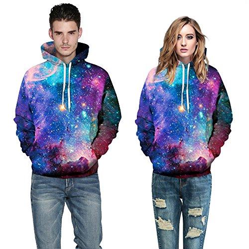 Herren Digitaldruck Kapuzenpullover Tops Fashion Hoodie Pullover Hooded Sweatshirt Galaxie A
