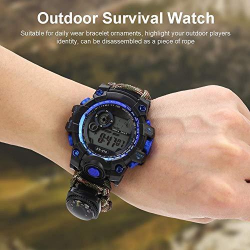 Imagen de reloj de supervivencia al aire libre,pedernal pulsera supervivencia pulsera paracord bracelet multifuncional impermeable reloj de emergencia equipo de supervivencia brújula silbato reloj alternativa