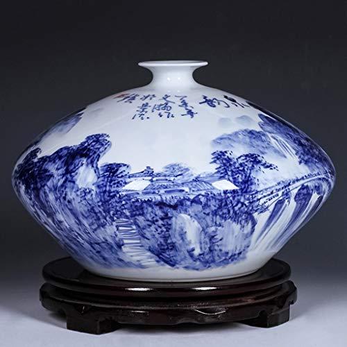 Vase Jardiniere Keramik Porzellan Hand Bemalt Blau-Weiß Porzellan Blumengesteck Chinesisches Haus Haushalt Wohnzimmer Dekoration Handwerk Dekoration mit Basis für Schlafzimmer Wohnzimmer Büro Studie -