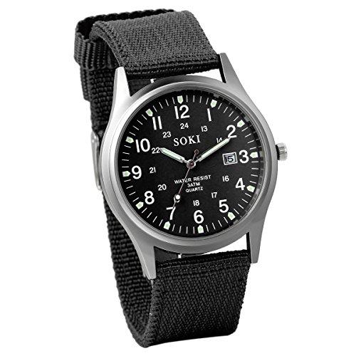 Reloj de Hombre Correa de Nylon Reloj Militar Deportivo, Verde Reloj de Piloto Ligero Reloj de Cuarzo...