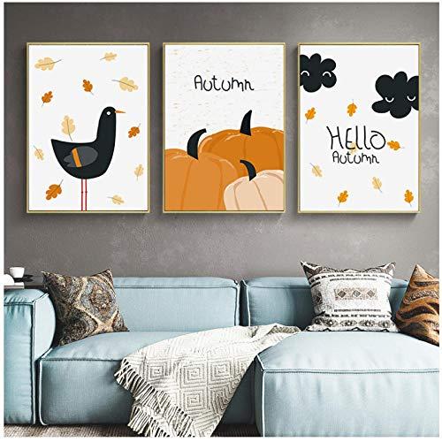 xwlljkcz Cartoon Kürbis Vogel Mond Leinwand Malerei Kindergarten Wandkunst Poster und Print Nordic Bild Baby Kinder Kinder Schlafzimmer Wohnkultur 40x60cmx3 Kein Rahmen -