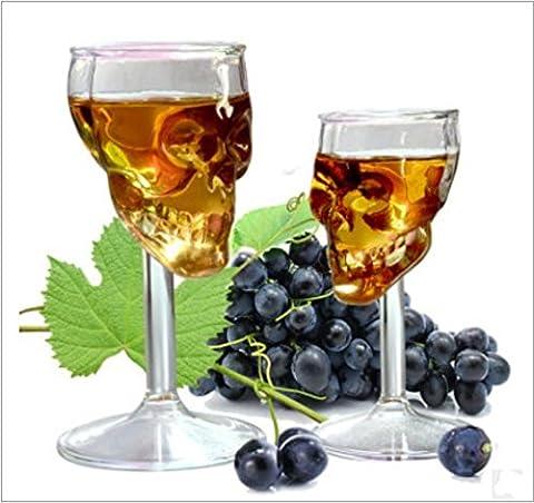 2pcs 75ml Creative Tête de mort squelette Verre à vin Tasse carafes Goblet Verre à vin rouge Vin Cocktail Whisky Bière Champagne