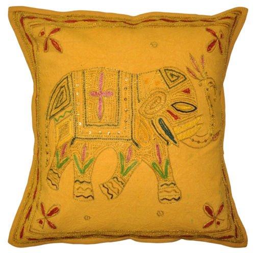 nandnandini-indio hecho a mano decorativo tradicional Home & Living Room Decor Vintage fundas de almohada bordado Trabajo Boho Chic bohemio sofá elefante almohada insertar Patchwork Funda de cojín