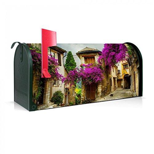 Amerikanischer Briefkasten 51x22x17cm / Stahl grün mit Motiv Provence (Provence Fahne)