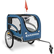 "DURAMAXX King Rex remolque para bicicletas (capacidad 250 litros, máx. 40 kg, acoplamiento fijo, neumáticos 16"", llantas acero inoxidable, banderín, estructura nailon) - negro azul"