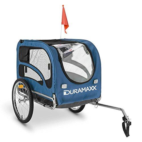 DURAMAXX King Rex Fahrradanhänger Lasten Hänger Hundehänger (mit Hochdeichsel, Laderaum mit 250 Liter Volumen, belastbar bis 40kg, Kugel-Kupplung für Fahrräder mit 26'' - 28'') blau-schwarz