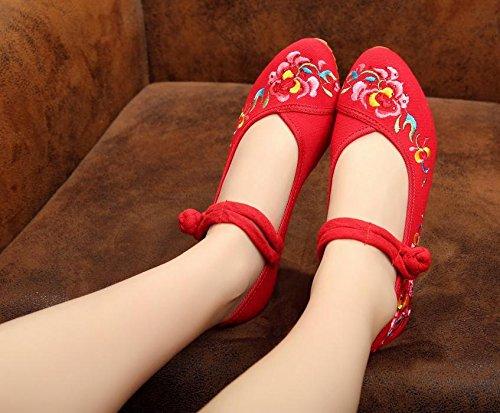 DESY pattini ricamati, biancheria, unico tendine, stile etnico, scarpe femminili, di moda, comodo Red