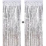 CozofLuv 2 Packung 1 x 3 M Metallic Tinsel Vorhänge, Folie Fringe Schimmer Vorhang Tür Fenster Dekoration für Geburtstag Hochzeit (Silber)