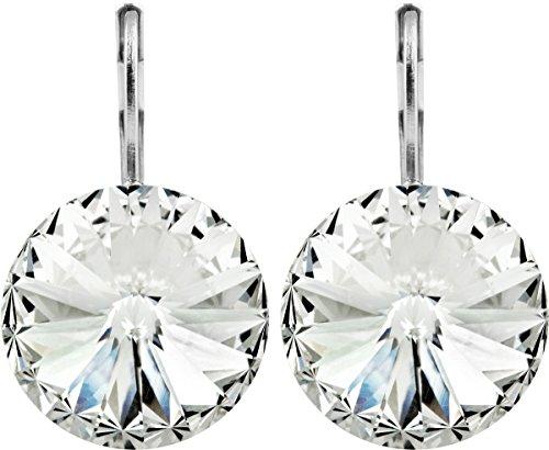 petra kupfer Damen Ohrringe Ohrhänger Rivoli 1 Swarovski®-Kristall 14 mm Transparent Versilbert hk14tb-crystal