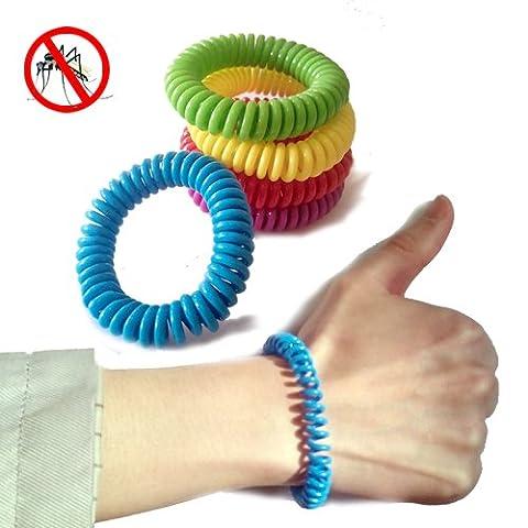 Bracelets anti-moustiques Répulsif Antiparasitaire, Lot de 5, poignet bands-ideal Pest Control Bug Repelling, 200heures Protection pour adultes et enfants, usage intérieur et extérieur.