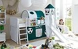 Hochbett mit Rutsche und Turm Spielbett Ekki Landhaus Kiefer massiv Weiss mit Farbauswahl, Vorhangstoff:Goal