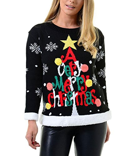 Islander Fashions Damen Damen Merry Xmas Rudolph Pompom 3D Neuheit Sweatshirt M�dchen Jumper Baubles Tree Schwarz X Large Christmas Tree Jumper