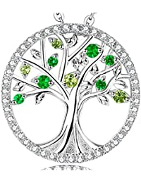 "GinoMay""Tree of Life"" Created Emerald & Peridot Birthstone Necklace Sterling Silver Jewellery Anniversary Gift for Her,Elegant Gift Box,Allergen-free,45+5cm Extender"