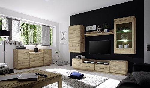 Wohnwand mit Sideboard in Wildeiche massiv bianco geölt