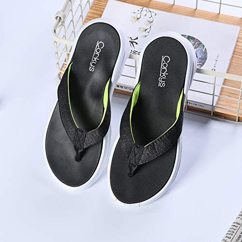 Qsy shoe Sommer Han bequem durch die Nadel abriebfesten dicken unteren coolen Flip-Flops, schwarz, S38-39 -