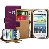 Membrane - Morado Cartera Funda Carcasa para Samsung Galaxy Young (GT-S6310 / S6312 Duos / Dual / S6310L / S6310N) - Flip Case Cover + 2 Protectores de Pantalla