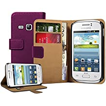 Membrane - Morado Cartera Funda Carcasa para Samsung Galaxy Young (GT-S6310 / S6312 Duos / Dual / S6310L / S6310N) - Flip Case Cover + 2 Protectores de