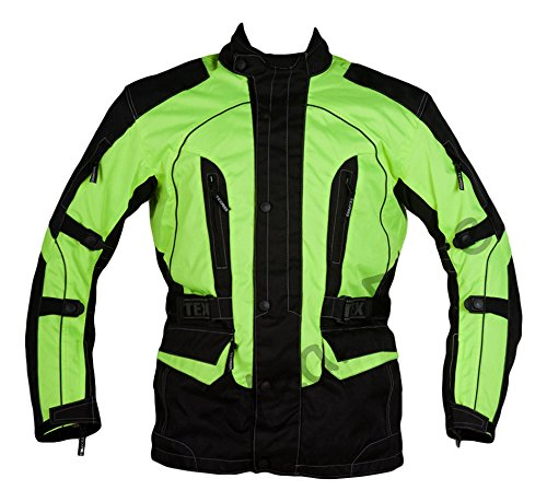 Texpeed Men's High Visibility Waterproof CE Armoured Motorcycle Textile Jacket - Black (Black/Green), Large