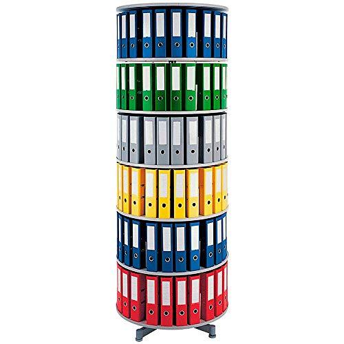 Ordner-Drehsäule mit 6 Etagen, für bis 120 breite DIN-Ordner, Böden hellgrau, Höhe 2280 mm, Ø 810 mm