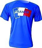 Ekeko FRANCE T-Shirt homme manches courtes, pour l'exécution, d'athlétisme et les sports en général, très respirant et léger. (M, BLEU)