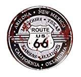 LB H&F Blechschild Nostalgie Retro Auto Tür Route 66 Motorrad Schild Rund