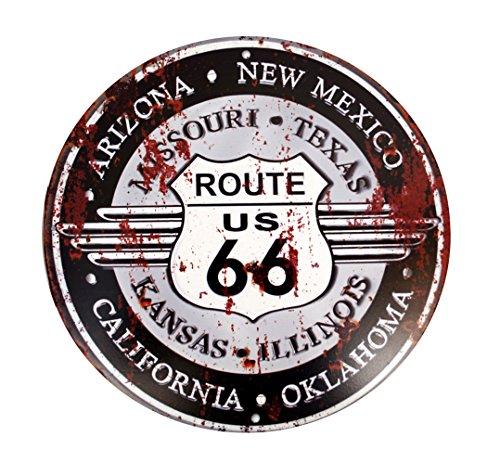 LB H&F Blechschild Nostalgie Retro Auto Tür Route 66 Motorrad Schild RUND -