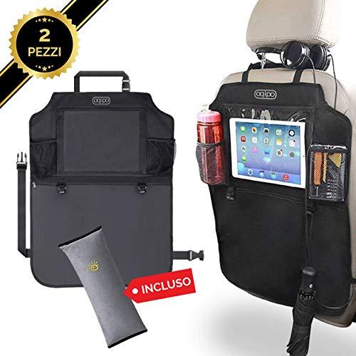 Oqipo protezione sedile auto bambini, organizer accessori auto bambini, supporto tablet auto 10 pollici, proteggi sedili auto bambini, 2 pezzi incluso cuscinetto per cintura