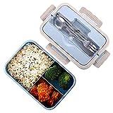 Scatole bento, sicurezza grano naturale 1000 ml lunch box contenitore alimentare ermetico con bacchette, cucchiaio per bambini e adulti, microonde, lavabile in lavastoviglie (Blu)