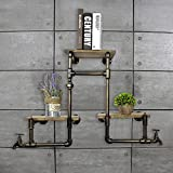 LOFT Wanddekoration Regal Wanddekoration LOFT Eisen Bücherregal Wand Regal Einbauschrank Standfuß Badezimmer Massivholz Regale Küchenhalter Iron Pipe Plank Industrielle Dekoration Wand